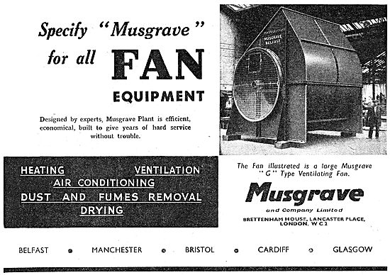 Musgrave Factory Ventilation Fans. 1942 Advert
