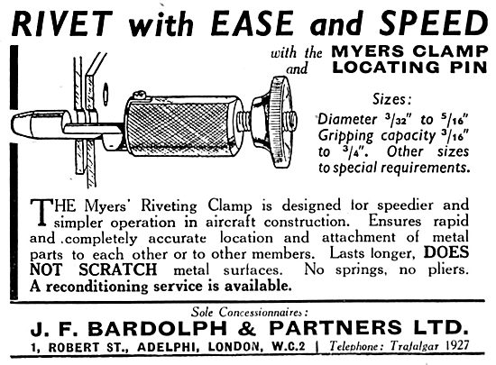 Myers Aircraft Riveting Equipment - J.F.Bardolph Concessionaires
