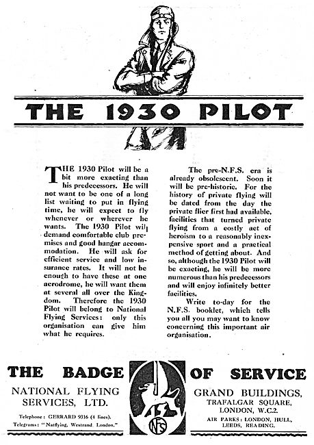 The 1930 Pilot - National Flying Services The Badge Of Service