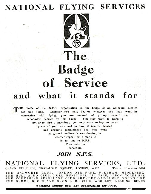 National Flying Services - The Badge Of Service
