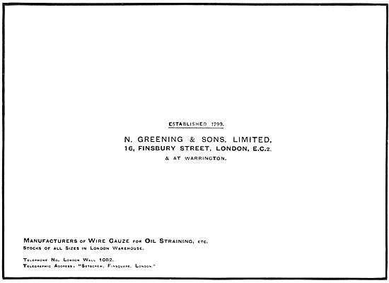N.Greening & Sons. Manufacturers Of Wire Gauze & Oil Strainers