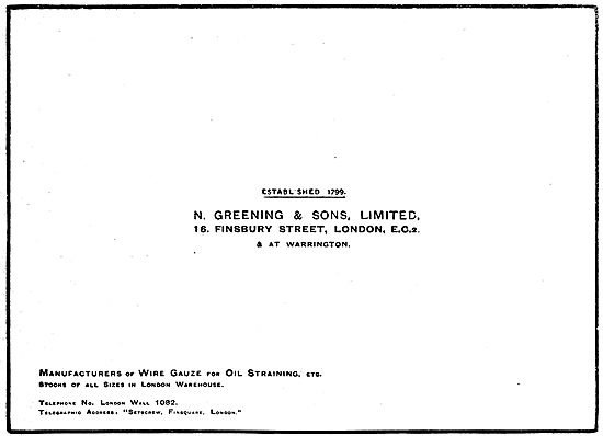N.Greening & Sons. Manufacturers Of Wire Gauze & Oil Straining