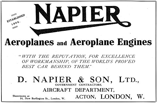 Napier Aeroplanes & Aero Engines 1916