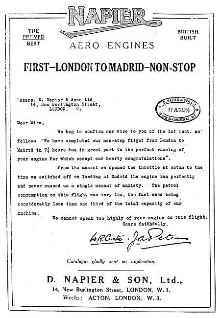 Napier Aero Engine - London-Madrid