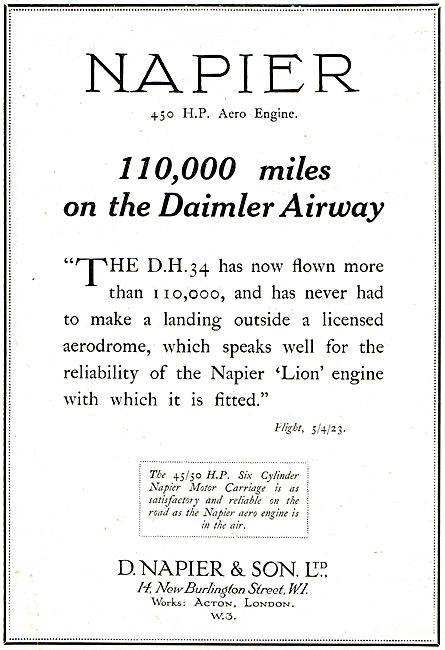 Napier 450 HP Aero Engine: 110.000 Miles On The Daimler Airway