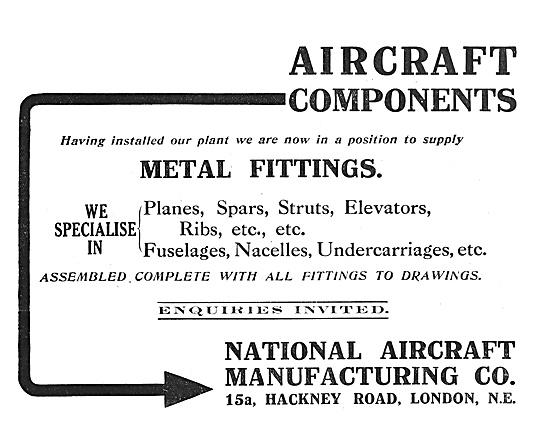 National Aircraft  Manufacturers Of Aircraft Parts 1916 Advert