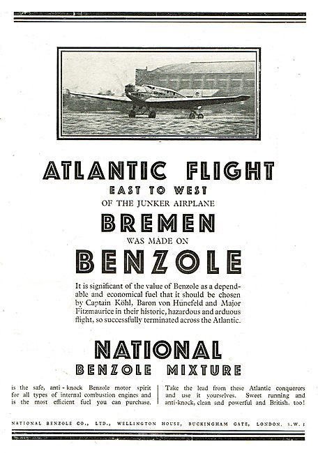 Kohl's Atlantic Flight Junkers Used National Benzole Fuel