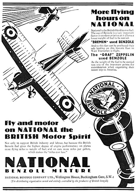 National Benzole Aviation Fuels 1929