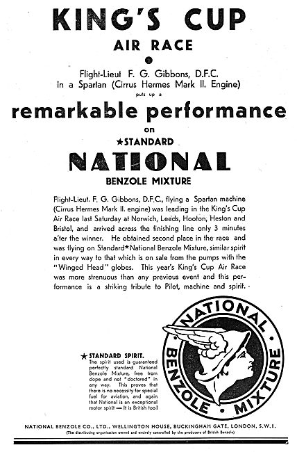 National Benzole  Aviation Fuel - Kings Cup