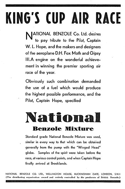 King's Cup Winner Used National Benzole Fuel