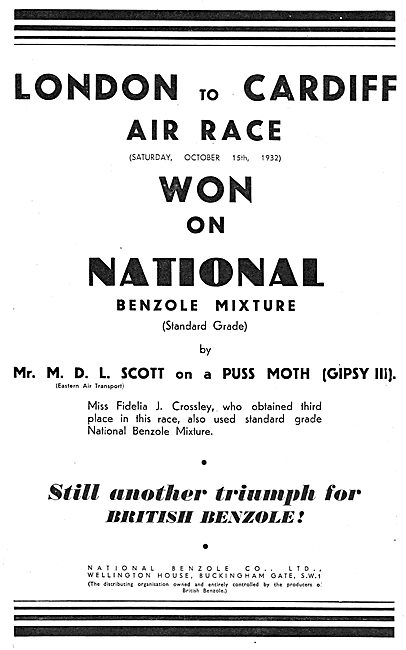 London-Cardiff Air Race Won On National Benzole Fuel