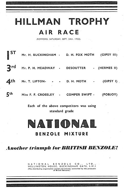 Hillman Trophy Air Race Won On National Benzole Fuel