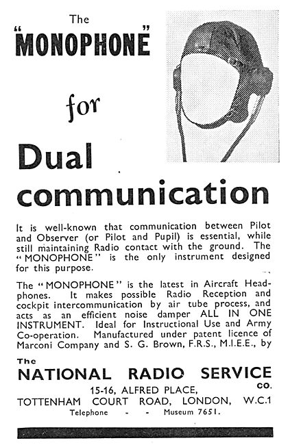 National Radio Service. Monophone Intercom