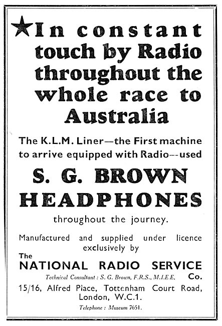 National Radio Service. S.G.Brown Headphones