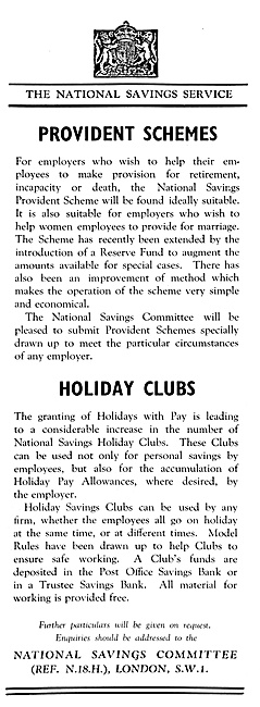 National Savings Committee. Holiday Clubs & Provident Schemes