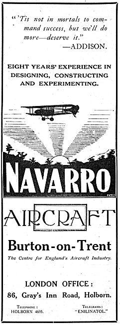 Navarro Aircraft Co. Burton-On-Trent. Aircraft Builders