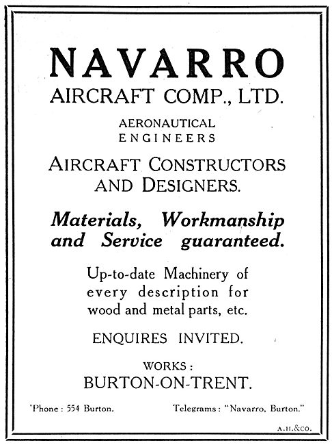 Navarro Aircraft Co. Burton-On-Trent. Aircraft Builders