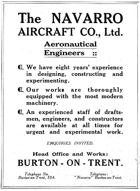 Navarro Aircraft Co. Burton-On-Trent. Aeronautical Engineers