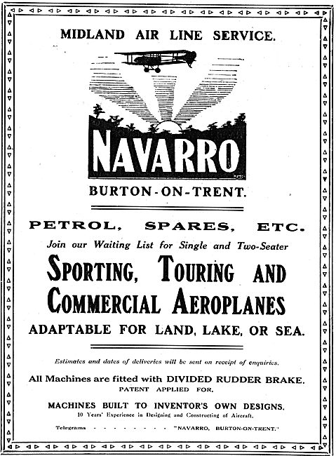 Navarro Aircraft Co. Burton-On-Trent. Midland Air Line Service