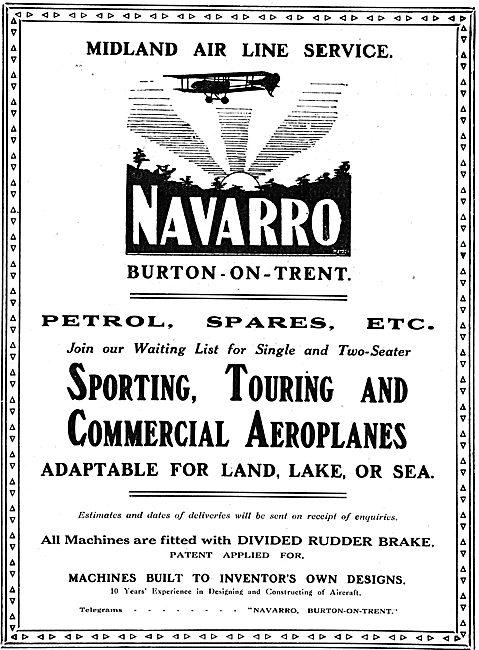 Navarro Aircraft Co. Burton-On-Trent. Midland Air Line Service