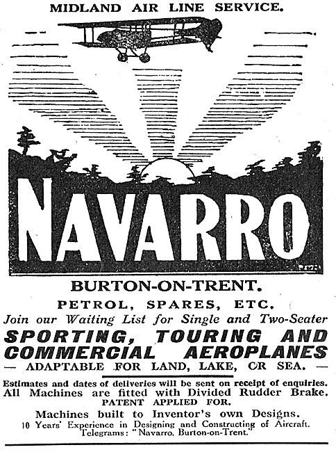 Navarro Aircraft Co. Burton-On-Trent. Sporting Aircraft Builders