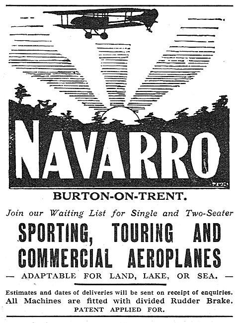 Navarro Aircraft Co. Burton-On-Trent. Touring Aircraft Builders