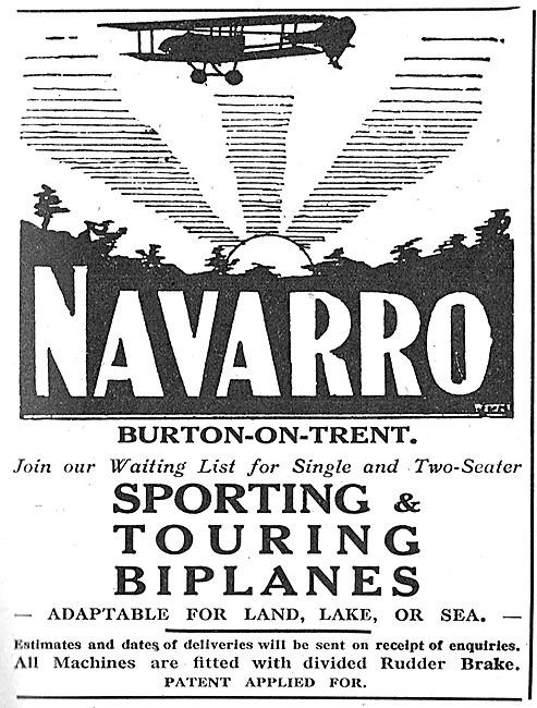 Navarro Aircraft Co. Burton-On-Trent. Sporting Biplanes