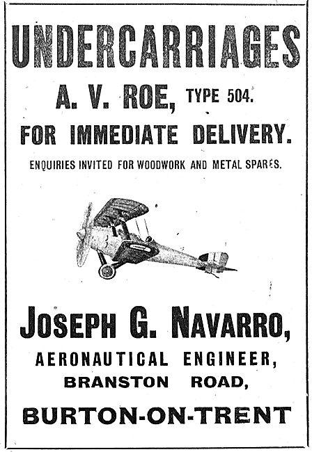Jospeh Navarro. Branston Rd, Burton-On-Trent. Avro 504 Parts