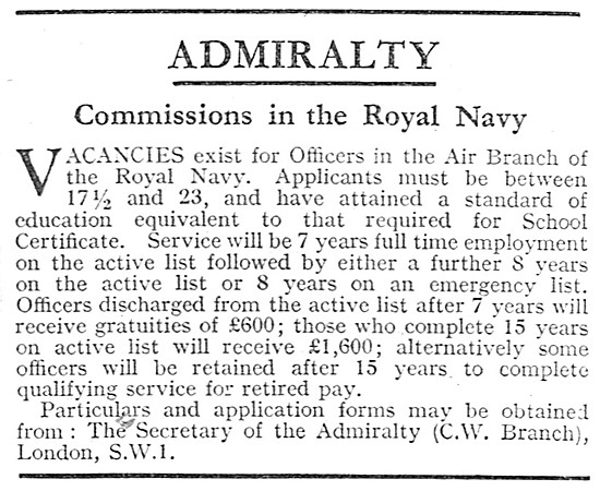 Navy Recruitment Air Branch Commissions 1939