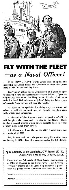 Royal Navy Aircrew Recruitment 1950