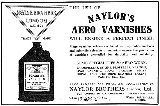 Naylors Paints, Enamels & Varnishes For Aircraft Constructors