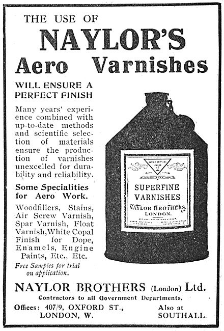 Naylor's Paints, Enamels & Varnishes For Aircraft Constructors