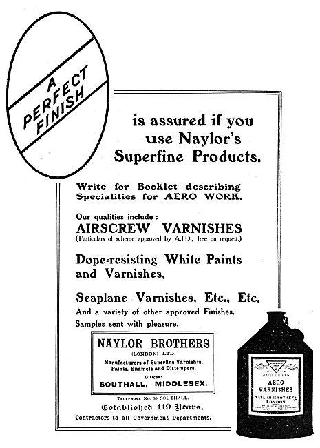 Naylors Paints, Enamels & Varnishes 1919 Advert
