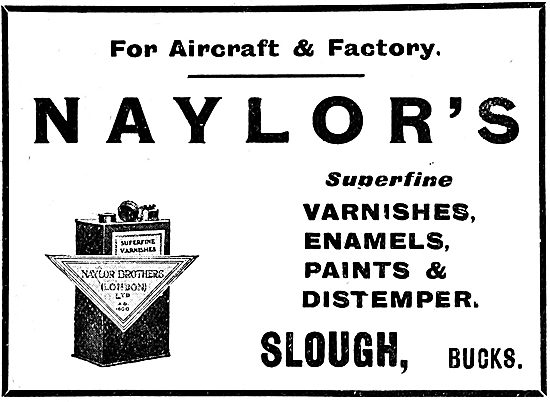 Naylors Paints, Enamels & Varnishes For Aircraft 1920 Advert