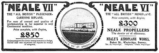 Neale Aircraft - Neale VII Biplane. Neale VI Monoplane. Weybridge