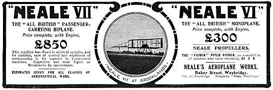 Neale Aeroplanes - Neale VII Biplane. Neale VI Monoplane