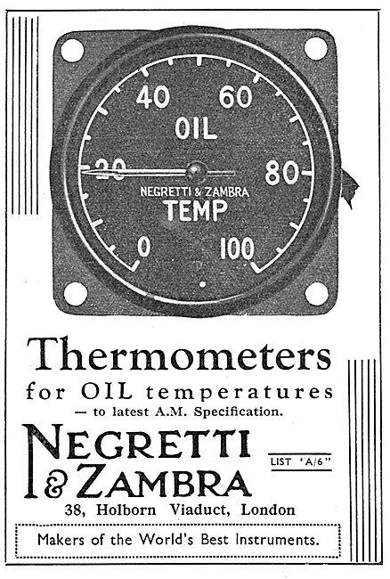 Negretti & Zambra Aircraft Oil Temperature Thermometers