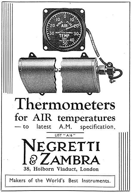 Negretti & Zambra Aircraft Air Temperature Thermometers