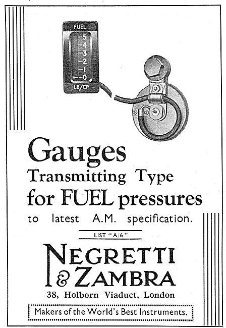 Negretti & Zambra Aircraft Fuel Pressure Gauges
