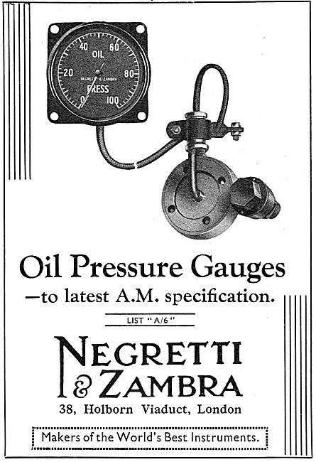 Negretti & Zambra Aircraft Air Ministry Spec Oil Pressure Gauges