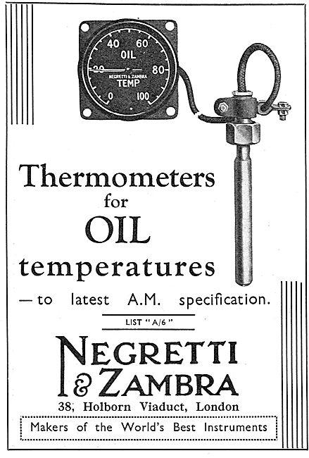 Negretti & Zambra Aircraft Oil Temperature Gauges