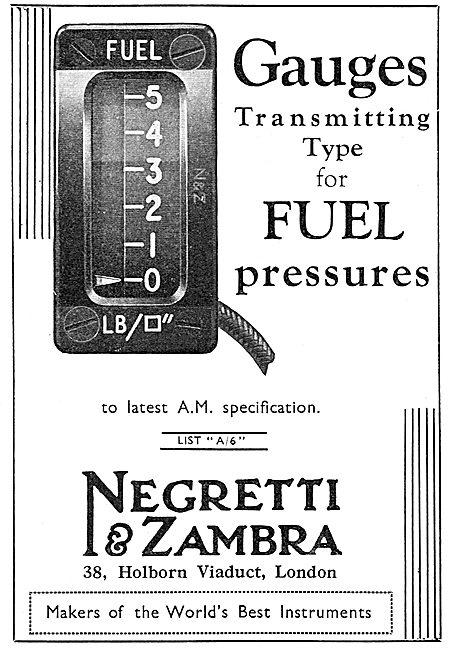 Negretti & Zambra Aircraft Fuel Pressure Gauge