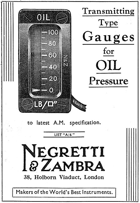 Negretti & Zambra Aircraft Oil Pressure Gauge