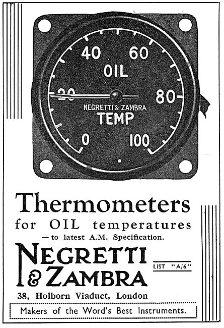 Negretti & Zambra Aircraft Engine Oil Thermometers