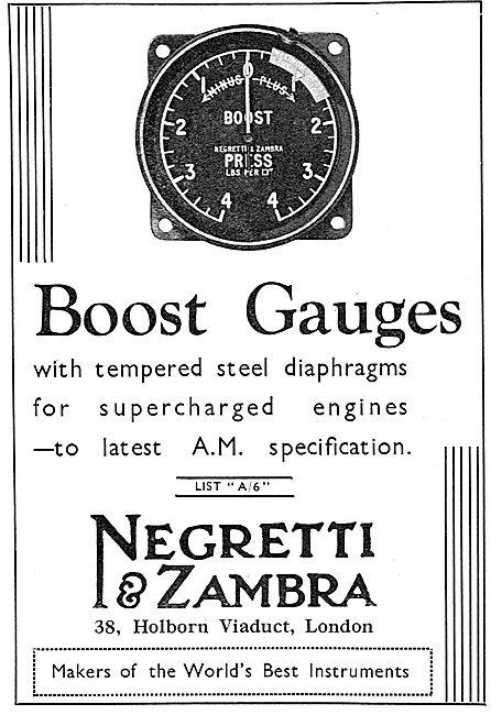 Negretti & Zambra Aero Engine Boost Gauges