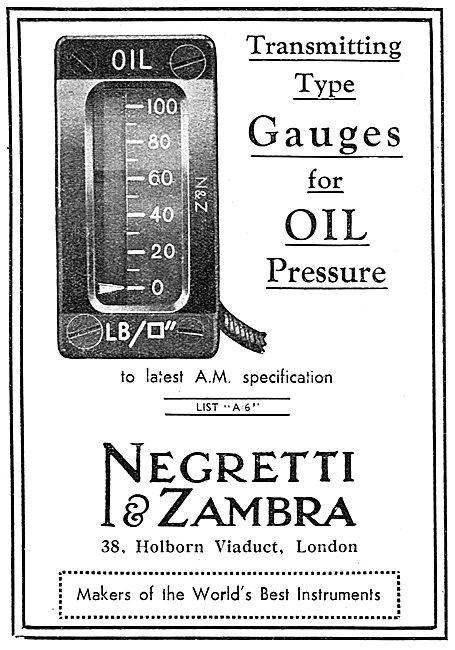 Negretti & Zambra Aircraft Instruments - Oil Pressure Gauges