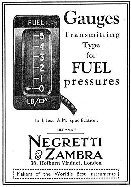 Negretti & Zambra Aircraft Instruments - Fuel Pressure Gauge