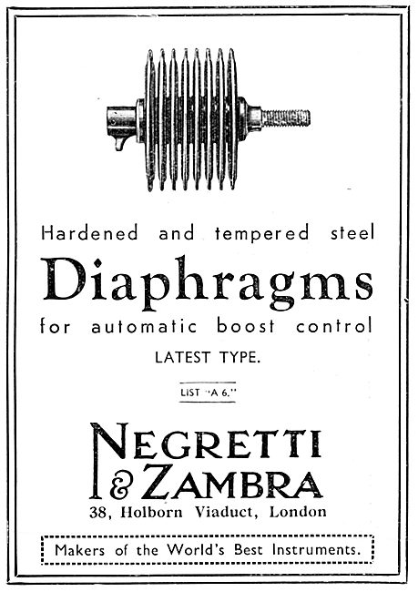 Negretti & Zambra Aircraft Instruments - Boost Control Diaphragms