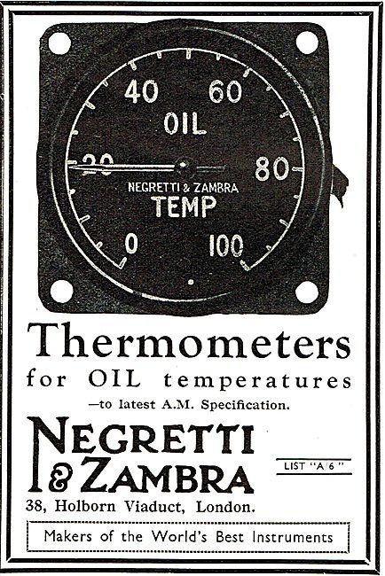 Negretti & Zambra Air Ministry Specification Oil Temp Thermometer