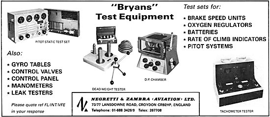 Negretti & Zambra Bryans Test Equipment